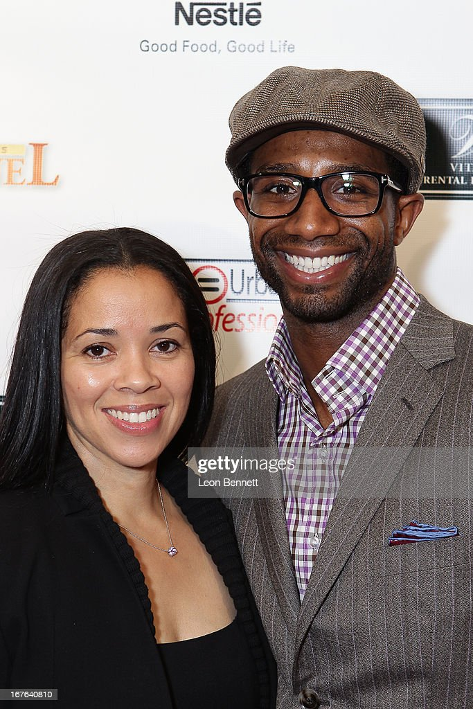 Lisa Johnson and Andre Johnson arrived at the LA Urban League Young Professionals 3rd Annual To The Nines After Party at The Beverly Hilton Hotel on April 26, 2013 in Beverly Hills, California.