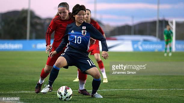 Lisa Karl of Germany and Rika Masuya of Japan fight for the ball during the women's U23 international friendly match between WU20 Germany and WU23...
