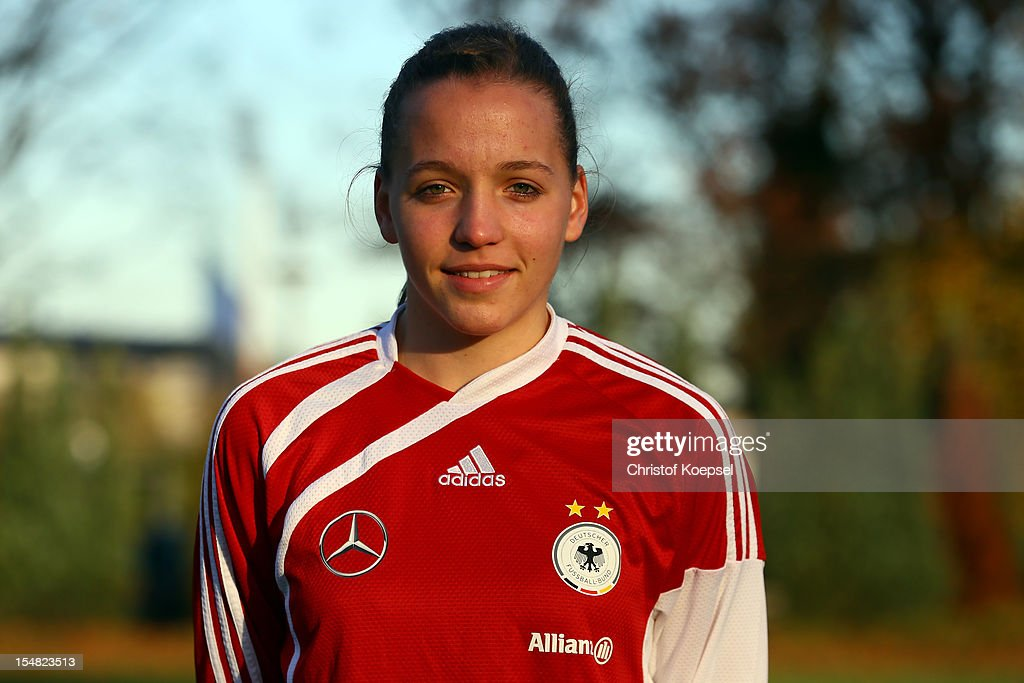 Lisa Karl poses during the Germany Women's U17 team presentation at Sport School Wedau on October 27, 2012 in Duisburg, Germany.