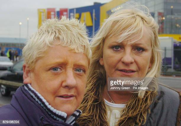 Lisa Keepence and Nicola Bird both from Enfield return to the new IKEA store in Edmonton north London which was forced to close due to overcrowding...