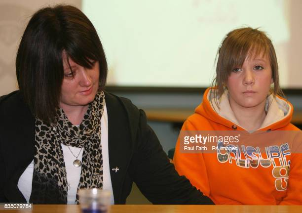 Lisa Kinnaird mother of 14yearold murder victim Ryan Quinn with Ryan's sister Zara at a police press conference in Colerain Co Londonderry