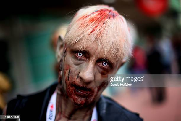 Lisa Kruis shows her zombie outfit at Comic Con at the San Diego Convention Center on July 19 2013 in San Diego California Comic Con International...