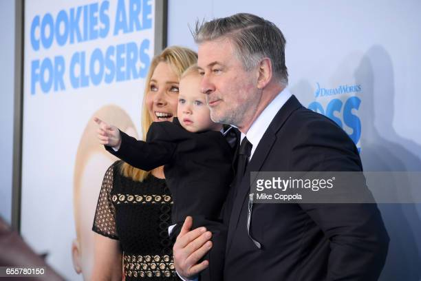 Lisa Kudrow Rafael Thomas Baldwin and Alec Baldwin attend 'The Boss Baby' New York Premiere at AMC Loews Lincoln Square 13 theater on March 20 2017...