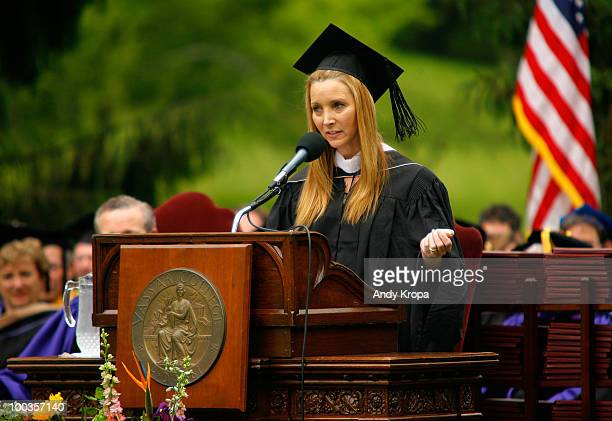 Lisa Kudrow speaks at the Vassar College 2010 commencement at Vassar College on May 23 2010 in Poughkeepsie New York