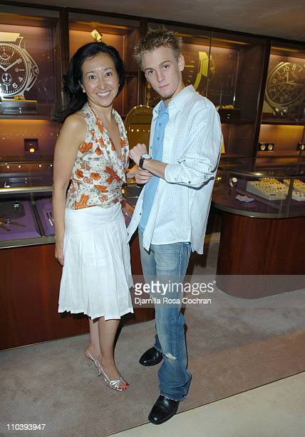 Lisa Labrado and Aaron Carter during Jaci Wilson Reid and Morris Reid Host a Shopping Experience at Asprey to Benefit VH1 Save The Music Fund at...
