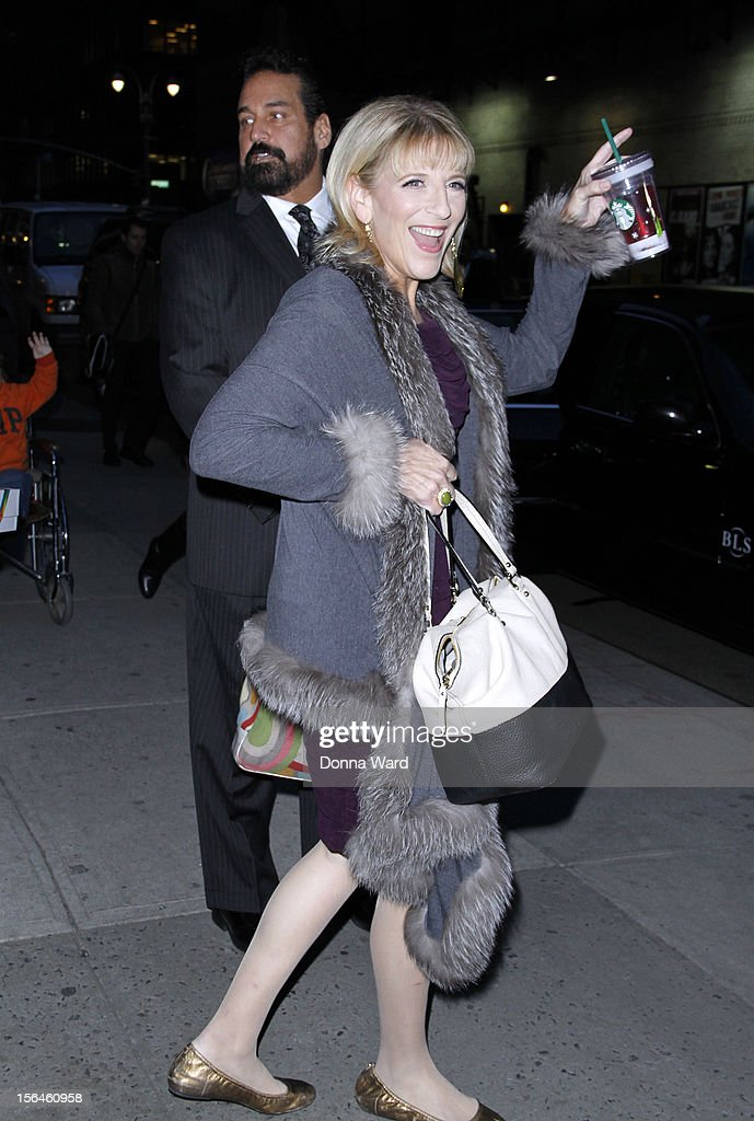 Lisa Lampinelli leaves 'The Late Show with David Letterman' at Ed Sullivan Theater on November 15, 2012 in New York City.