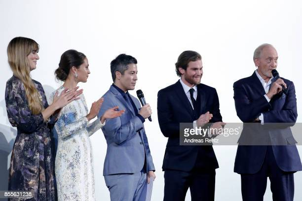Lisa Langseth Alicia Vikander moderator Max Loong Mark Stanley and Charles Dance speak on stage at the 'Euphoria' premiere during the 13th Zurich...