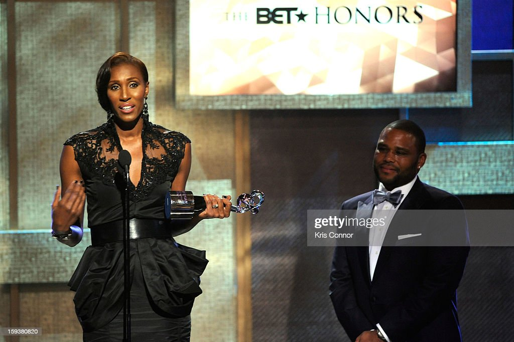 Lisa Leslie and Anthony Anderson onstage at BET Honors 2013 at Warner Theatre on January 12, 2013 in Washington, DC.