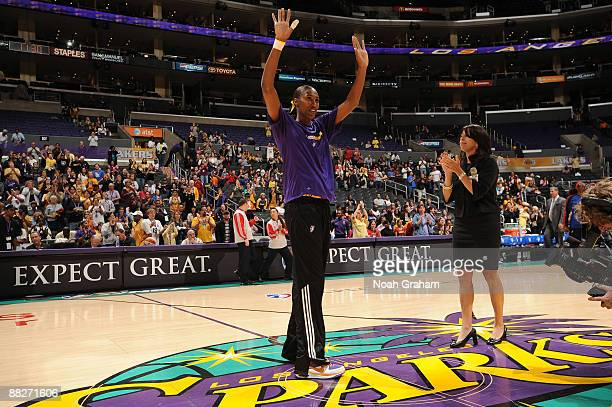 Lisa Leslie of the Los Angeles Sparks acknowledges the crowd before taking on the Detroit Shock on June 6 2009 at Staples Center in Los Angeles...