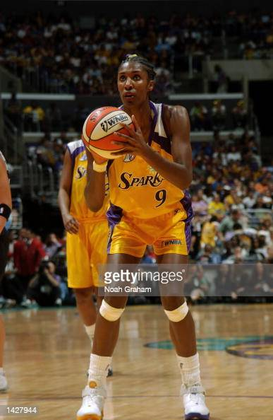 Lisa Leslie of the Los Angeles Sparks attempts a free throw during Game two of the 2002 WNBA Finals against the New York Liberty on August 31 2002 at...
