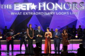 Lisa Leslie TD Jakes Halle Berry Clarence Avant and Chaka Khan onstage at BET Honors 2013 at Warner Theatre on January 12 2013 in Washington DC