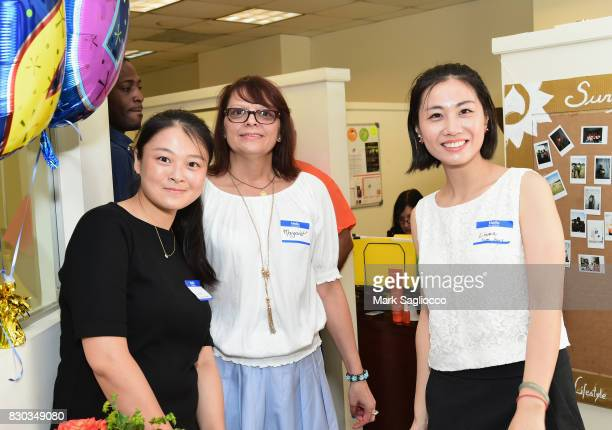 Lisa Li Margaret Kwiatkowski and Liwen Ma attend as Surya Brasil celebrates 20th anniversary in the United States on August 11 2017 in New Hyde Park...