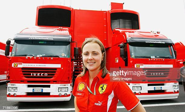 Lisa Lilley of Shell in the paddock after practice prior to qualifying for the Hungarian Formula One Grand Prix at the Hungaroring on August 5 in...