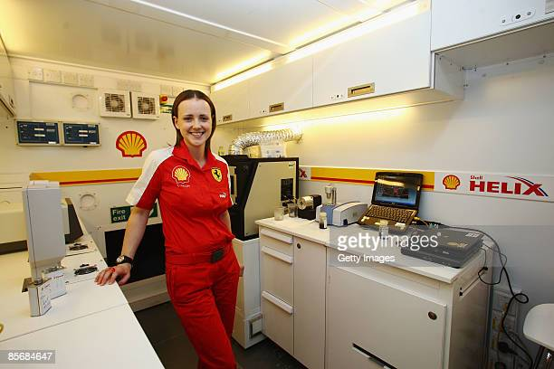 Lisa Lilley Shell Technology Manager for Ferrari is seen in their Track Lab during the Australian Formula One Grand Prix at the Albert Park Circuit...