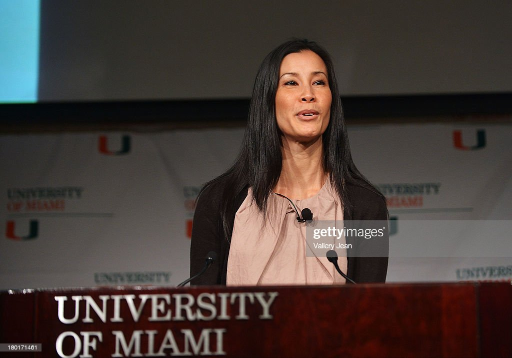 Lisa Ling gives the University of Miami Fall convocation speech 'Open Heart Open Mind' at Bank United Center on September 9 2013 in Miami Florida