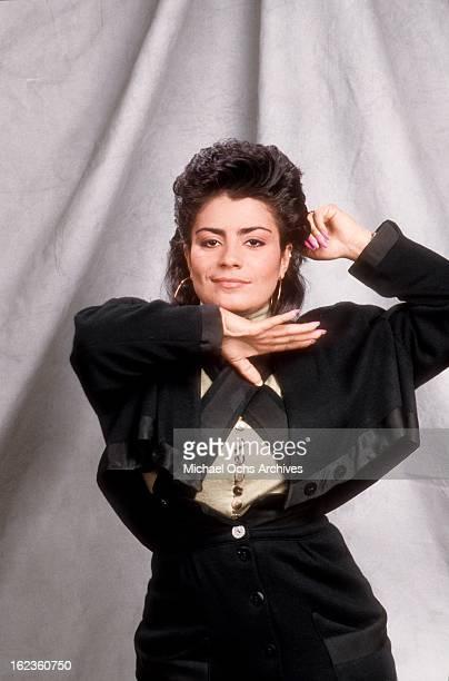 Lisa 'Lisa Lisa' Velez of Lisa Lisa and Cult Jam poses for a portrait circa 1988 in New York City New York