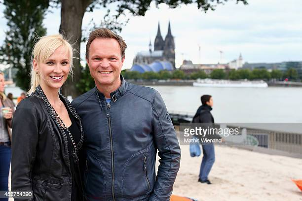 Lisa Loch and Stephan Pabelick attend the Land Rover Public Chill 2014 at km689 on August 17 2014 in Cologne Germany
