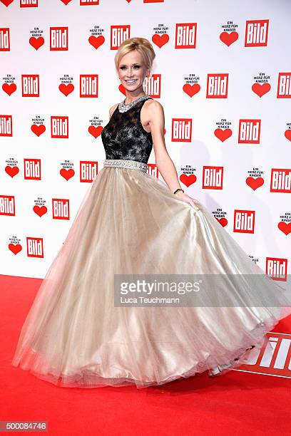 Lisa Loch arrives for the Ein Herz Fuer Kinder Gala 2015 at Tempelhof Airport on December 5 2015 in Berlin Germany