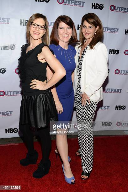 Lisa Loeb Kate Flannery and Nia Vardalos attend the 2014 Outfest Los Angeles screening Of 'Helicopter Mom' at Ford Theatre on July 19 2014 in...
