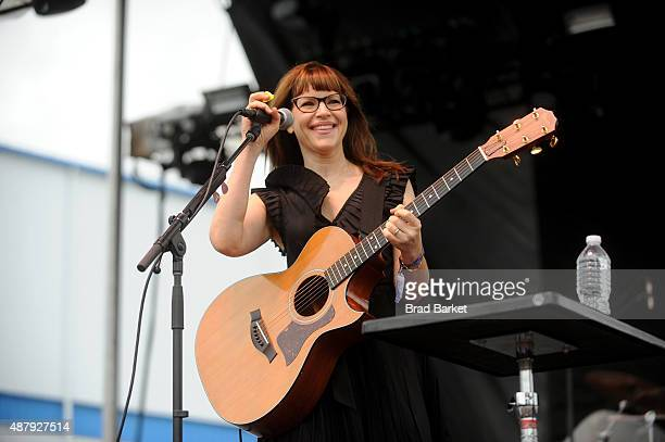 Lisa Loeb performs at 90sFEST Pop Culture and Music Festival on September 12 2015 in Brooklyn New York