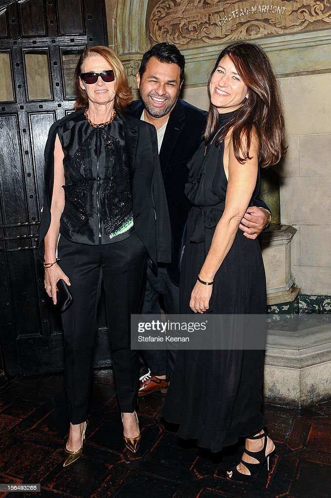 Lisa Love, Juan Carlos Obando and <a gi-track='captionPersonalityLinkClicked' href=/galleries/search?phrase=Katherine+Ross+-+Brand+Consultant&family=editorial&specificpeople=15214939 ng-click='$event.stopPropagation()'>Katherine Ross</a> attend Juan Carlos Obando Jewelry Collection Launch Dinner at Chateau Marmont on November 15, 2012 in Los Angeles, California.