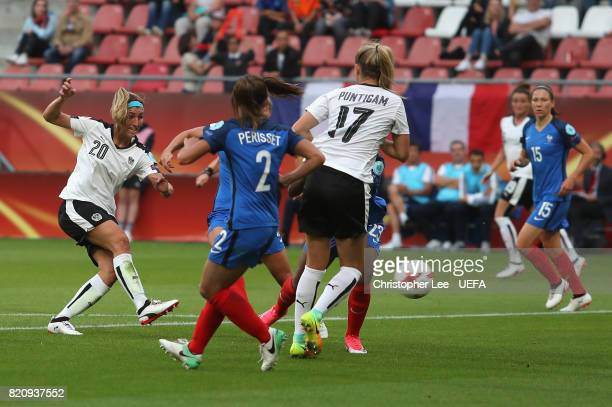 Lisa Makas of Austria scores their first goal during the UEFA Women's Euro 2017 Group C match between France and Austria at Stadion Galgenwaard on...