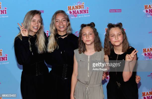Lisa Mantler and Lena Mantler with Rosa Meinecke and Laila Meinecke attend the premiere of the film 'Hanni Nanni Mehr als beste Freunde' at Kino in...