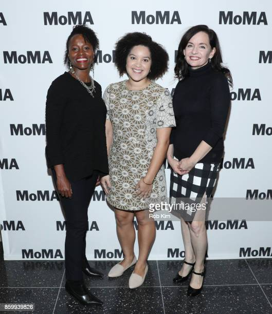 Lisa Marie Bronson Adeze Wilford and Guinevere Turner attend the MoMA's Black Intimacy Series featuring Lena Waithe Master of None Conversation at...