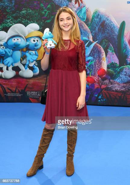 Lisa Marie Koroll arrives at the 'Die Schluempfe Das verlorene Dorf' Berlin premiere at Sony Centre on April 2 2017 in Berlin Germany