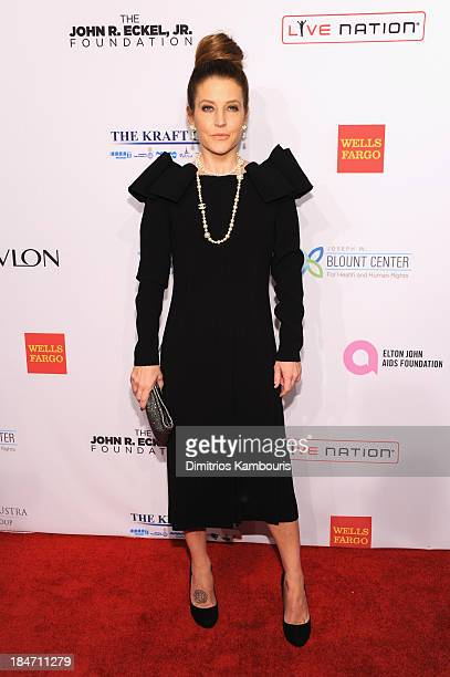 Lisa Marie Presley attends the Elton John AIDS Foundation's 12th Annual An Enduring Vision Benefit at Cipriani Wall Street on October 15 2013 in New...