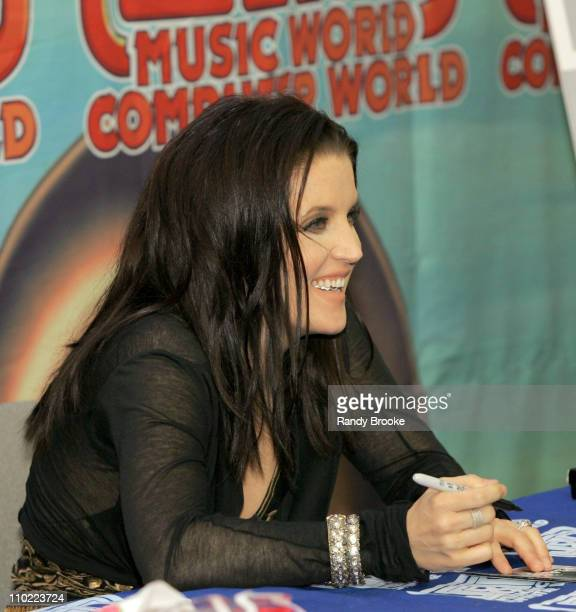 Lisa Marie Presley during Lisa Marie Presley Visits J and R Music World May 19 2005 at J and R Music World Store in New York New York City United...