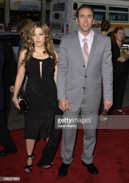 Lisa Marie Presley Nicolas Cage during 'Windtalkers' Premiere at Grauman's Chinese Theatre in Hollywood California United States