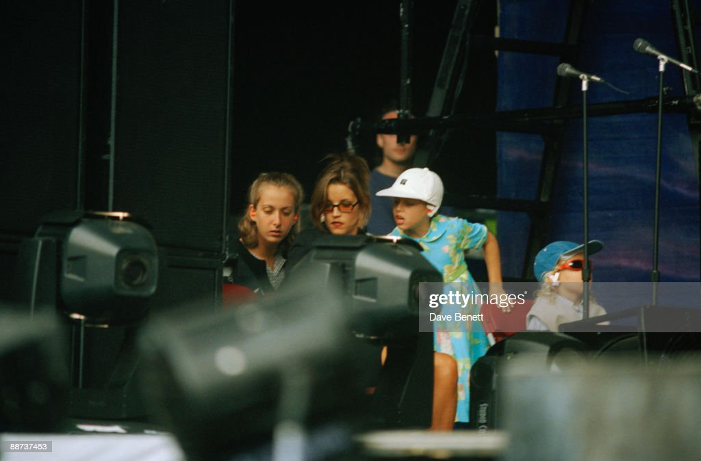 Lisa Marie Presley with her children Danielle and Benjamin during her former husband Michael Jackson's HIStory concert at Wembley, 15th July 1997.