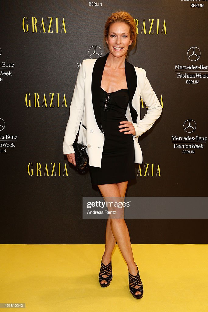 Lisa Martinek arrives for the Opening Night by Grazia fashion show during the Mercedes-Benz Fashion Week Spring/Summer 2015 at Erika Hess Eisstadion on July 7, 2014 in Berlin, Germany.