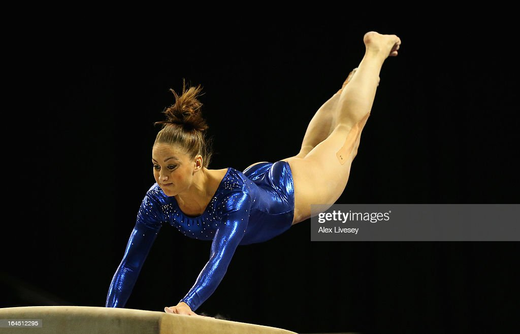 Lisa Mason of Huntingdon competes in the Vault in the Women's Senior Apparatus Finals during the Men's and Women's British Gymnastics Championships at the Echo Arena on March 24, 2013 in Liverpool, England.
