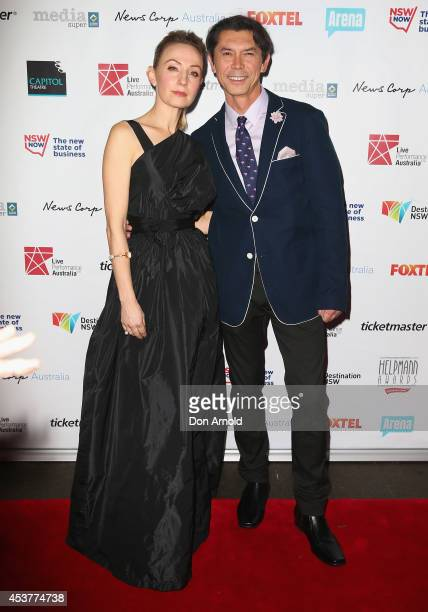 Lisa McCune and Lou Diamond Phillips arrive at the 2014 Helpmann Awards at the Capitol Theatre on August 18 2014 in Sydney Australia