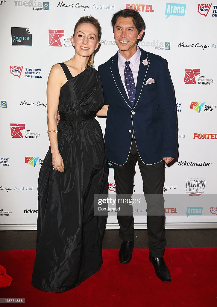 Lisa McCune and Lou Diamond Phillips arrive at the 2014 Helpmann Awards at the Capitol Theatre on August 18, 2014 in Sydney, Australia.