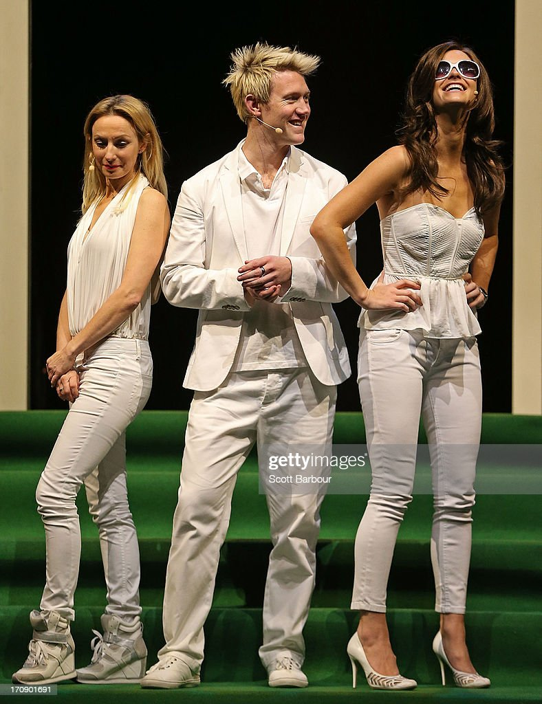 Lisa McCune, who plays Simone Warne, Eddie Perfect who plays Shane Warne and Christie Whelan Brown who plays Elizabeth Hurley pose during a 'Shane Warne The Musical' media call at the Arts Centre Melbourne on June 20, 2013 in Melbourne, Australia. Shane Warne The Musical is a musical comedy based on the life of Australian cricketer Shane Warne.