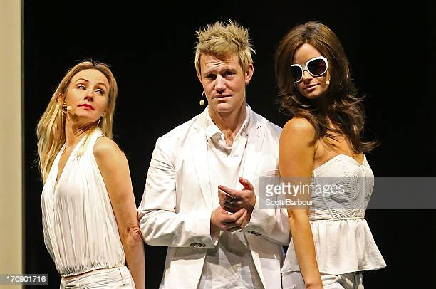 Lisa McCune who plays Simone Warne Eddie Perfect who plays Shane Warne and Christie Whelan Brown who plays Elizabeth Hurley pose during a 'Shane...