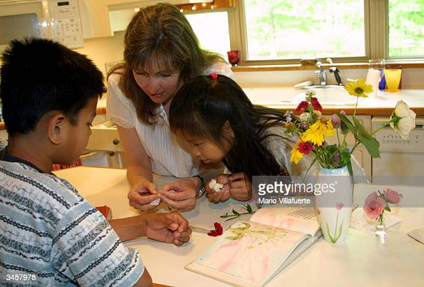 Lisa McLean teaches her adopted children James and Maddie about the parts of a flower April 22 2004 in Shreveport Louisiana The adopted McLean...