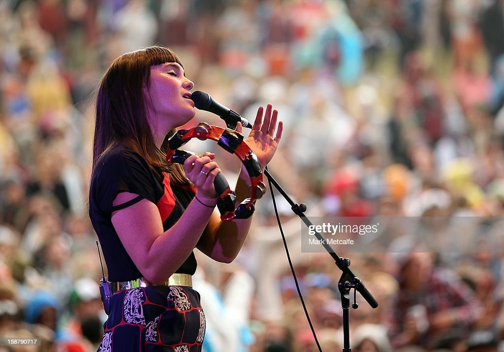 Lisa Mitchell performs live on stage at The Falls Music and Arts Festival on December 29, 2012 in Lorne, Australia.