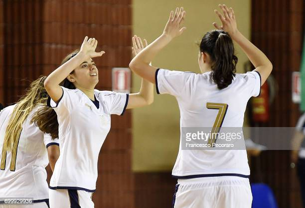 Lisa Molon and Laura Li Noce of Italy celebrate after scoring the 20 goal during the U17 Women Futsal Tournament match between Italy and Kazakhstan...