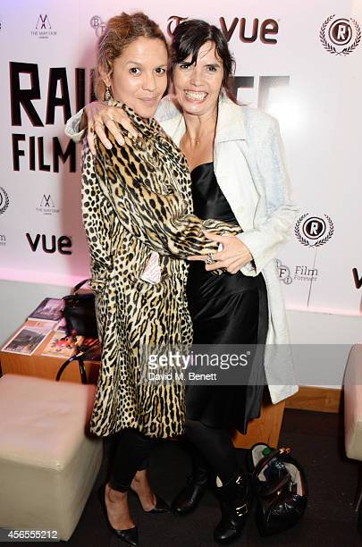 Lisa Moorish and Zoe Grace attend the UK Premiere of 'Flim The Movie' at the Vue Piccadilly on October 2 2014 in London England