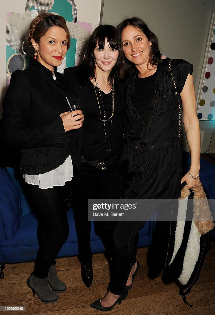 Lisa Moorish, Annabelle Neilson and Rosemary Ferguson attend event planner Paul Rowe's 40th birthday party at The Groucho Club on April 3, 2013 in London, England.