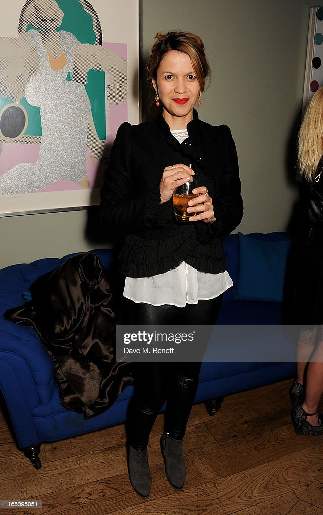 Lisa Moorish attends event planner Paul Rowe's 40th birthday party at The Groucho Club on April 3, 2013 in London, England.