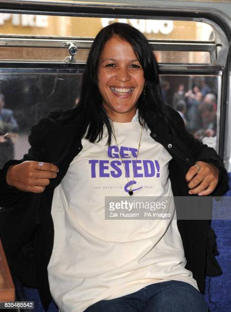 Lisa Moorish is tested for hepatitis B and C on the first ever GET TESTED Bus for World Hepatitis Day 2009 in Leicester Square central London