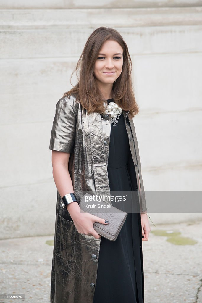Lisa Novozhilova wears all Chanel on day 3 of Paris Haute Couture Fashion Week Spring/Summer 2015 on January 27 2015 in Paris France