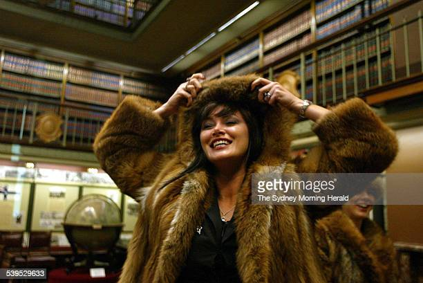 Lisa Oldfield at State Parliament during a talk on the righteousness of the fur trade 27 April 2004 SMH Picture by WADE LAUBE