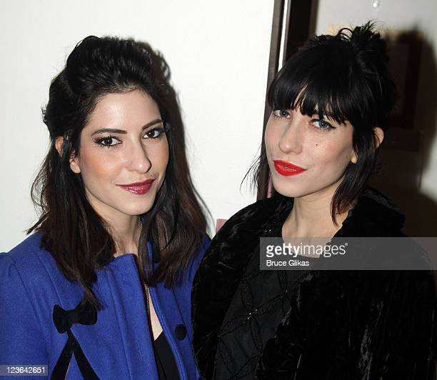 Lisa Origliasso and Jessica Origliasso of 'The Veronicas' pose backstage at the hit musical 'SpiderManTurn off the Dark' on Broadway at The Foxwoods...
