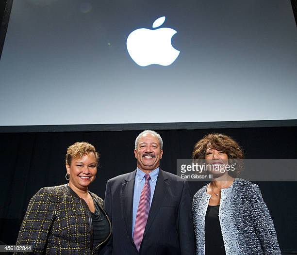 Lisa P Jackson Chaka Fattah and Denise Young Smith pose for a photo at the General Session Luncheon at the 44th Annual Legislative Conference at...